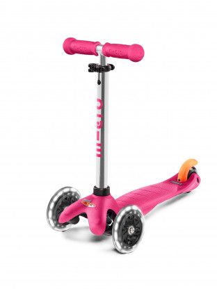 Trottinette 3 roues Mini Micro Plus LED rose
