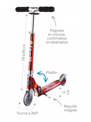 Trottinette 2 roues Micro Sprite Bleu Saphir Grip Rayé