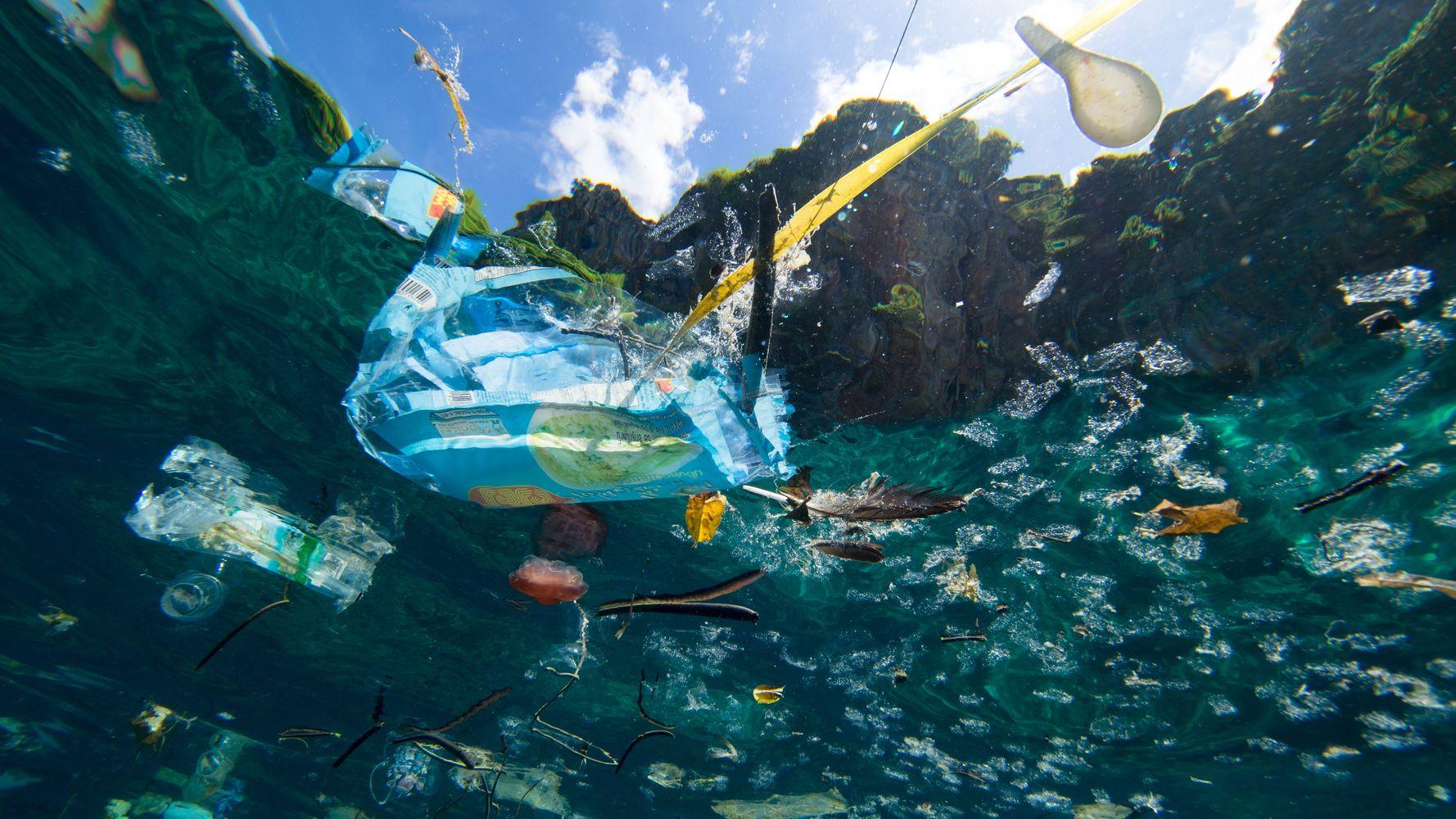 Photo de déchets plastiques dans les océans